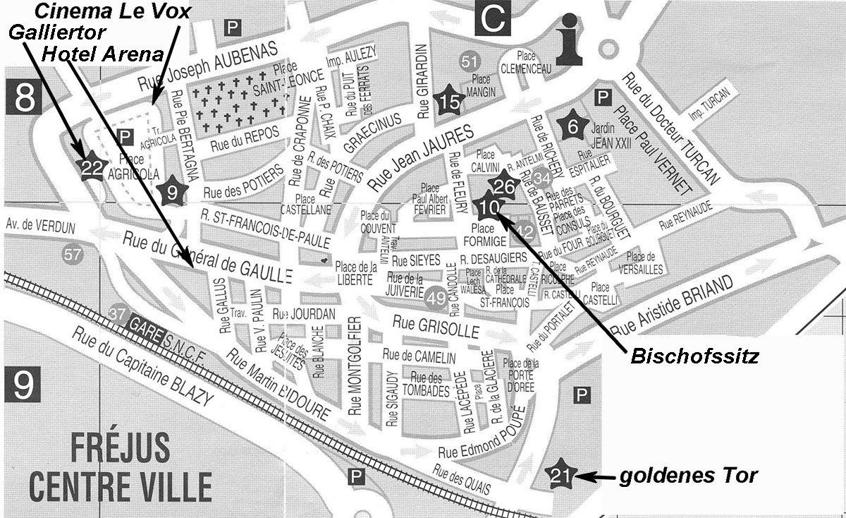 Stadtplan von Frejus am Mittelmeer in Südfrankreich