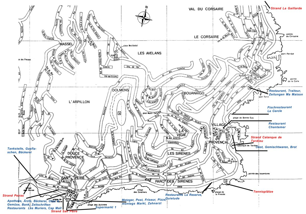 Stadtplan von Les Issambres am Mittelmeer in Südfrankreich