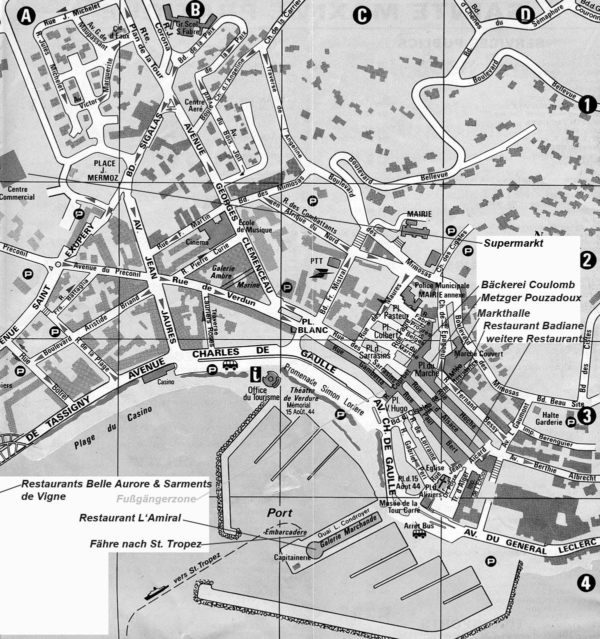 Stadtplan von Ste Maxime am Mittelmeer in Südfrankreich